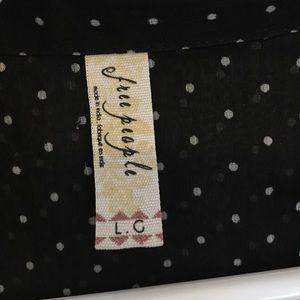 Free People Tops - Free people black/white polka dot shirt size L